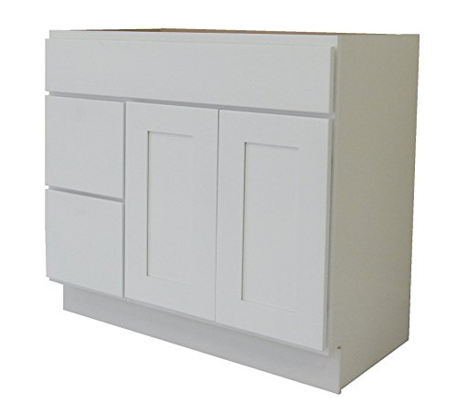 White Shaker Wood Vanity Cabinet (NGY WS-4221DL Shaker Vanity Cabinet Maple Wood, 42