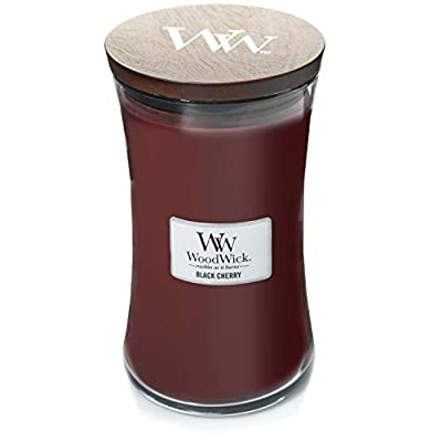 BLACK CHERRY WoodWick 22oz Large Jar Candle Burns 180 Hours