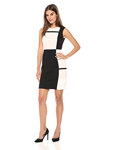 (Tommy Hilfiger Women's Block Square Tri Color Scuba Crepe Dress, Powder Combo,)