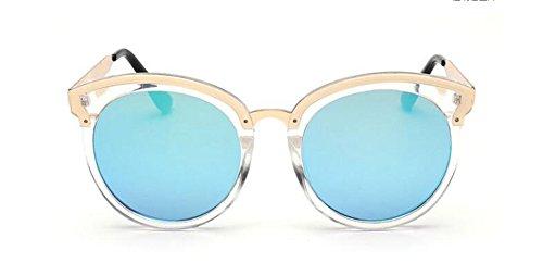 soleil rond lunettes vintage Bleu Film de retro du style polarisées B en inspirées métallique Lennon cercle HaTx7a