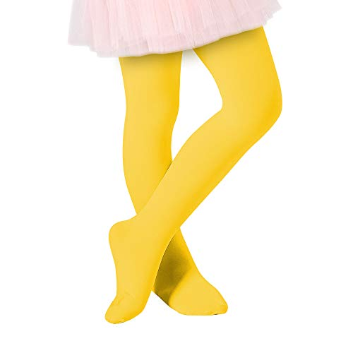 Century Star Ultra-Soft Footed Dance Sockings Ballet Tights Kids Super Elasticity School Uniform Tights For Girls1 Pack Yellow -