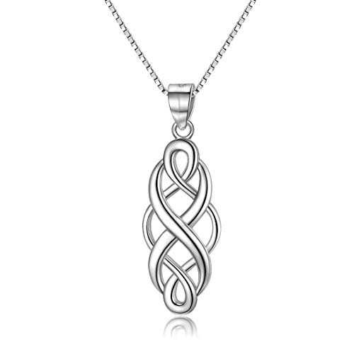 (GOXO 925 Sterling Silver Good Luck Polished Celtic Knot Cross Pendant Necklace for Womens (Celtic Knot Necklace 1))