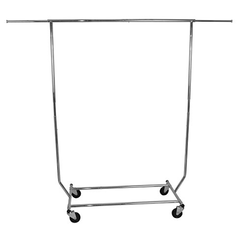 Smart Design Heavy Duty Rolling Garment Rack w/Wheels - Sturdy Steel Metal Frame - Expandable Hanging Space - Suits, Pants, Clothing Storage - Home Organization (50 x 75 Inch) [Chrome]