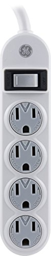GE 14837 4 Outlet Power Strip, 1.5 Foot Long Extension Cord, Indoor Use Only, White (Out Strip)