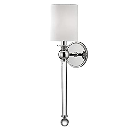 Hudson Valley Lighting Gordon 1 Light Wall Sconce   Polished Nickel Finish  With White Silk