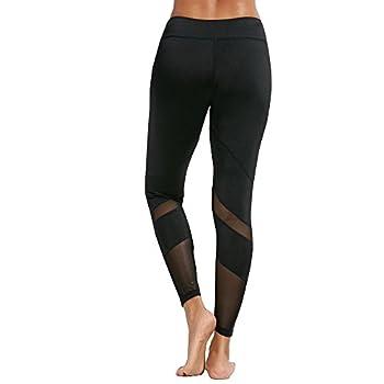 Feivo Yoga Pants, Women's Power Flex Yoga Pants Tummy Control Workout Yoga Capris Pants Leggings,mesh-black2,small 3