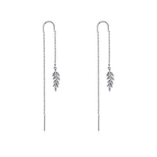 (POPLYKE Threader Earrings Sterling Silver Long Linear Leaf Heart Dangle Drop Earrings for Women Girls (Leaf Errings))