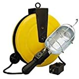 Alert Stamping 5000-50G-CB Incandescent Metal Retractable Cord Reel Work Light with Circuit Breaker