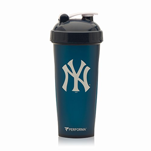 Performa Perfect Shaker - MLB Collection, Best Leak Free Bottle with Actionrod Mixing Technology for Your Sports & Fitness Needs! Dishwasher and Shatter Proof (Yankees) ()