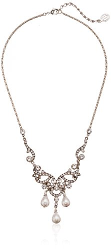 Ben-Amun Jewelry Pearl and Crystal Victorian Deco Necklac...