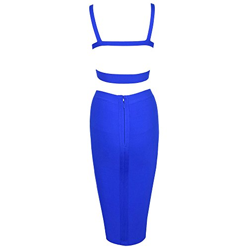 Color Women HLBandage Piece 2 Set Bandage Length Pure Knee Blau Dress wOwqB