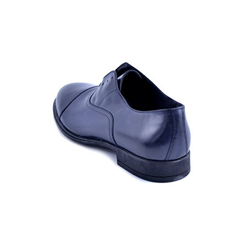 Soldini Scarpe Uomo Modello Slip On con possibilita di Aggiungere Le Stringhe. Pelle Blu. Prodotto Made in Italy. Taglia 42