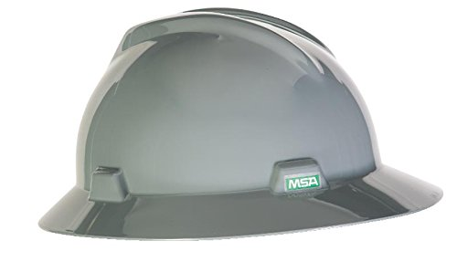 (MSA 454731 V-Gard Slotted Full-Brim Hat, w/Staz-On Suspension, Standard, Gray)
