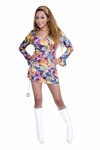 60s Sexy Flower Power Costumes (60s Flower Power Adult Costume - Large)
