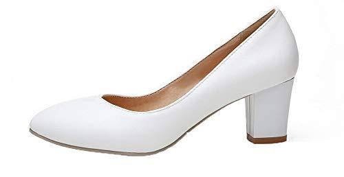 Tacón Microfibra Zapatos tsmdh003157 Tacón Aalardom Cerrada Puntera Medio De Blanco Mujeres nOBqWPw8