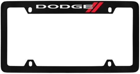 DODGE MOPAR LOGO Chrome Brass Metal License Plate Frame w// Black Caps AUTHENTIC