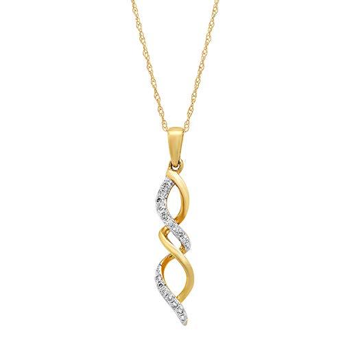 Dazzlingrock Collection 0.11 Carat (ctw) Round White Diamond Ladies Infinity Swirl Pendant CT,10K Yellow Gold (0.11 Ct Diamond Pendant)