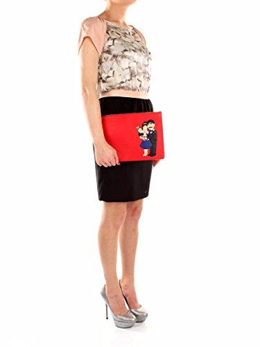 Pochette Dolce&Gabbana Donna Pelle Rosso Chiaro e Multicolore BI2182AB50880300 Rosso 21x31 cm