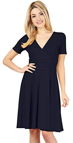 Long and Short Sleeve Wrap Dresses for Women Reg and Plus Size Skater Swing Dress - Made in USA (Size XX-Large US 16-18, Navy)