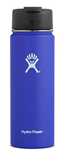 Hydro Flask 20 oz Travel Coffee Flask | Stainless Steel & Vacuum Insulated | Wide Mouth with Hydro Flip Cap | Blueberry - Teapot Double Handle