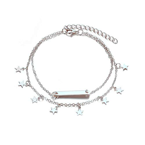 (LANG XUAN Bar Boho Foot Chain Silver Star Adjustable Beach Layer Anklet for Women)
