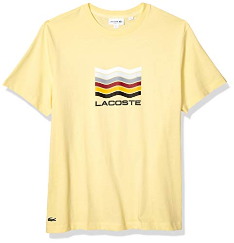Lacoste Men's S/S Jersey Graphic T-Shirt, NAPOLITAN Yellow, Medium (Yellow Lacoste Shoes)