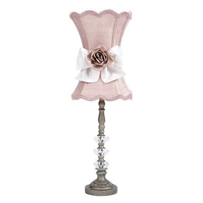 Jubilee Collection 3 Pewter Glass Ball Lamp with Pink Shade