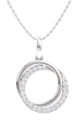 Diamondere Natural and Certified Diamond Two Circle Necklace in 14k White Gold | 0.19 Carat Pendant with Chain