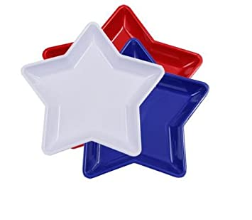 Star-Shaped Serving Trays Red White and Blue - 3 Pack