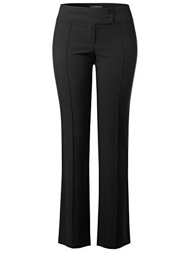 Design by Olivia Women's High Waist Slim Boot-Cut Stretch Pin Line Pants Black L