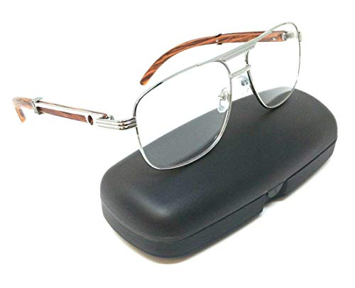 (Executive Metal & Wood Aviator Eyeglasses/Clear Lens Sunglasses - Frames (Silver & Cherry Wood w/Case, Clear))