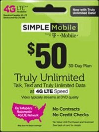 Simple Mobile SIM Card + Unlimited Everything $50 1st Month Plan + Unlimited 4G LTE Data by Simple Mobile (Image #1)