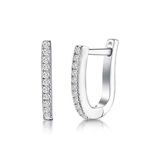 IminiJewelry Dainty Cubic Zirconia Small Hoop Earrings Sterling Silver Crystal Huggie Hoops 12mm for Women Teen ()
