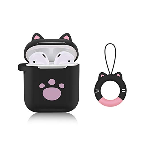 YoRoucI Airpods Case, Airpods Silicone Case Cover Cute Cat Claw Shockproof Protective Cover Skin for Apple Airpods Earphones Accessories Charging Case with Keychain (Black)