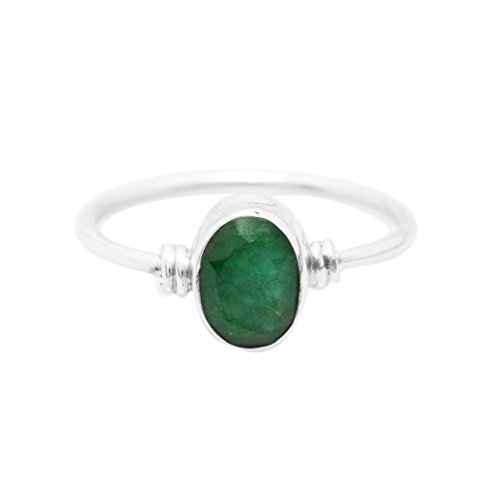 - Koral Jewelry Created Emerald Ring 925 Sterling Silver Vintage Tribal Gypsy Boho Look US Size 5 6 7 8 9 (8)