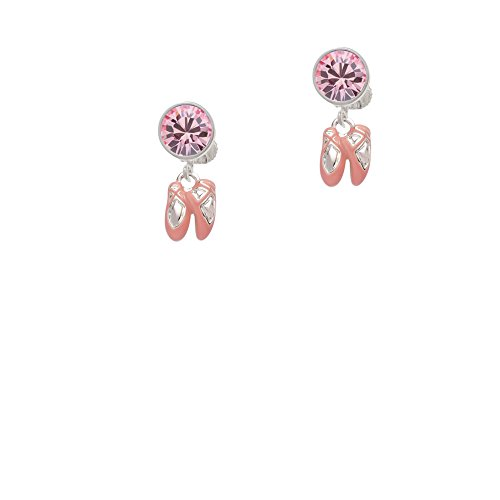 Silvertone Mini Pink Ballet Shoes - Pink Crystal Clip on Earrings by Delight Jewelry