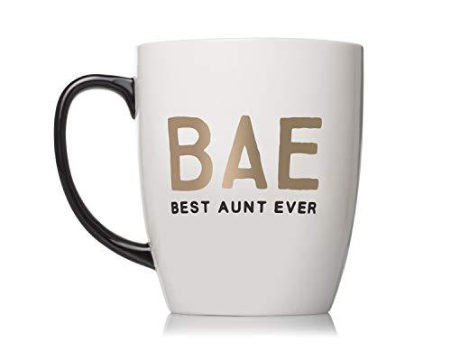 Pearhead Bae Best Aunt Ever Ceramic Mug, Aunt Coffee Mug, Best Aunt Gifts, White best to buy