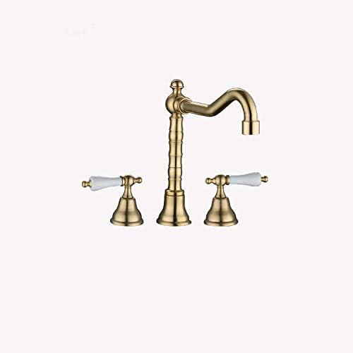 DXX-HR バスルームのシンクは、スロット付き浴室の洗面台のシンクホットコールドタップミキサー流域のすべての銅ホットとコールドスリーホール蛇口スプリットヨーロッパのレトロダブルハンドルスリーピース銅ナチュラルアメリカンクラシックをタップ