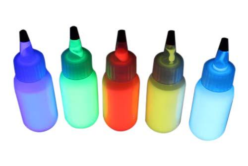 5 INVISIBLE UV Body Paint Set, Black Light Liquid Paint 1oz bottles -