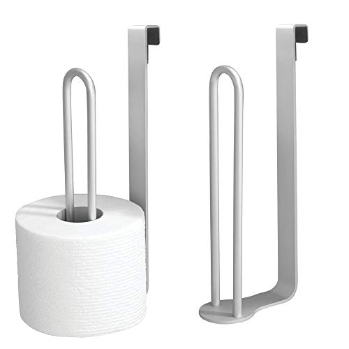 mDesign Aluminum Metal Modern Over-The-Tank Toilet Paper Holder Organizer for Bathroom Extra Organizing Storage, Set of 2, Silver