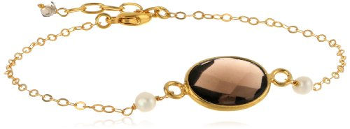"""Faceted Oval Smokey Quartz Bezel and White Freshwater Cultured Pearl on Sterling Silver Chain, 7.5"""""""