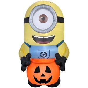 Halloween Inflatable Giant 8' LED Minion Carl Holding Pumpkin -