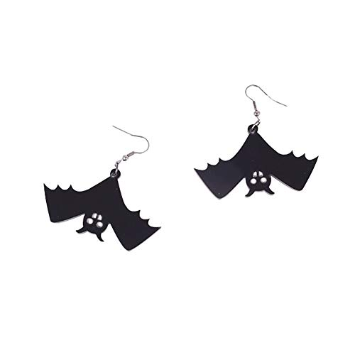 Kanggest Halloween Earrings Ornaments Horror Dark Bloodsucking Elf Halloween Falling Bat Necklace Earrings (A) for $<!--$4.36-->