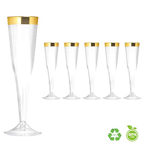 Elegant Gold Rimmed 6 Ounce Clear Plastic Champagne Flutes Fancy Disposable Cups with Gold Rim Perfect for Holiday Party Wedding and Everyday Occasions (50 Pack) -