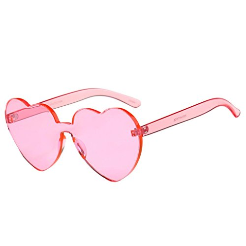 Perman Fashion Womens Sunglasses, Rimless Frame Heart-shaped Candy Colored Integrated UV Plastic - Sunglasses For Rose Sale Colored
