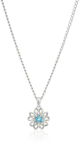 Topaz Flower Pendant (Sterling Silver Swiss Blue Topaz Flower Pendant Necklace, 18