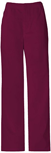 Dickies Men's Everyday Scrubs Elastic Waist Inside Drawstring with Zipper Fly Button Closure, Wine, ()