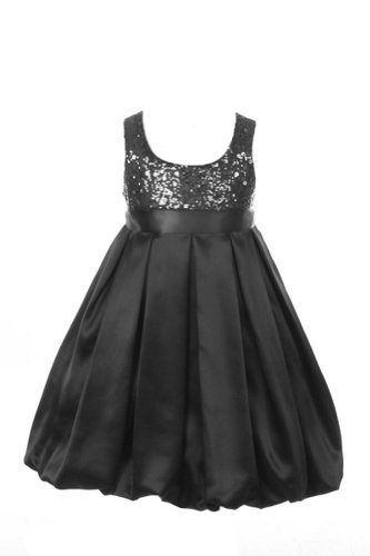 Satin Sequin Bodice Special Occasion Holiday Flower Girl Dress - Black 2 -