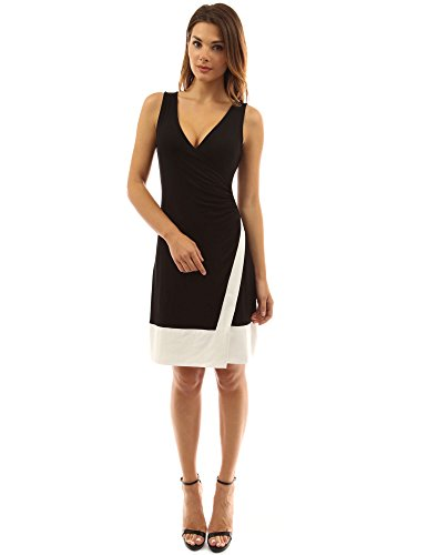 PattyBoutik Women's Block Color V Neck Faux Wrap Dress (Black and Ivory S)