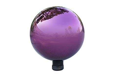 Alpine Corporation Electric Purple Gazing Globe - Glass Sphere with Neck - Outdoor Yard Art Decor - 10